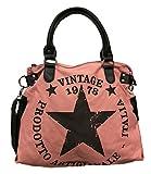 Star Bag Vintage - Bolso de tela para mujer, diseño de estrella, color, talla Maße: L: 45cm H: 42cm B: 18cm