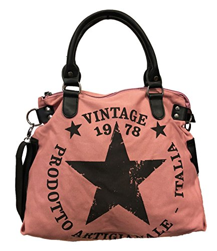 JameStyle26 Star Bag Vintage Stern Damen Stamp Tasche Fashion Shopper Henkeltasche Canvas...