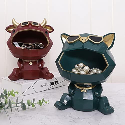 PPuujia Decoración para el hogar de animales geométricos nórdicos, decoración creativa de resina para manualidades, caja de almacenamiento de doble propósito (color: 3)