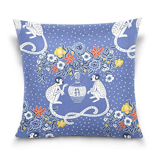 HMZXZ Kissenbezug 45x45cm Jahrgang Affes Blume Dekorative quadratische Kissenbezüge Kissenhüller für Couch Sofa Schlafzimmer Wohnzimmer