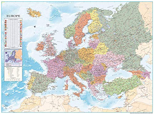 Close Up Poster Mappa dell'Europa XXL - con Bandiere (135cm x 100cm)
