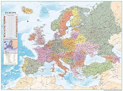 Close Up XXL Europakarte 2020 Poster mit Flaggen & zahlreichen Infos - Premium Weltkarte Plakat - 135 x 100 cm