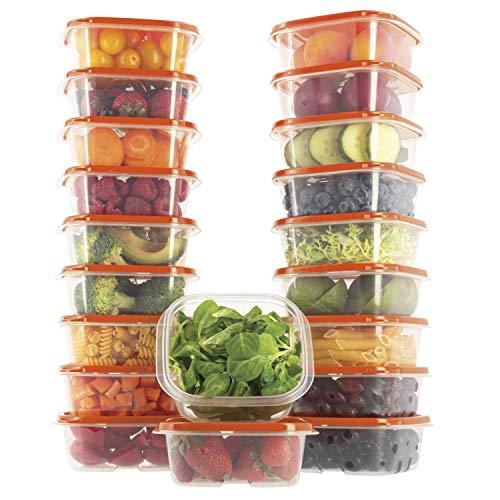 Oursson Frischhaltedose aus BPA-freiem Plastik, mit orangem Deckel, 20-Teiliges Set, 20x400 ml, Lunchbox, CP10081-1S/OR