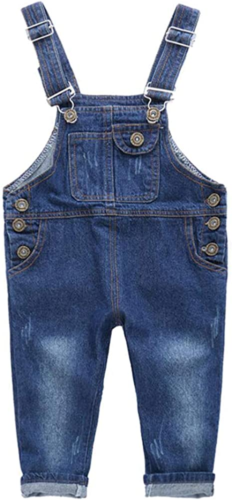 Motteecity Boys Unisex Clothes Adorable Solid Denim Overall