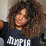 Curly Wigs for Black Women - Curly Afro Wig with Bangs Ombre Brown Mixed Color Synthetic Heat Resistant Full Wigs with 1 Wig Comb and 4pcs Wig Caps