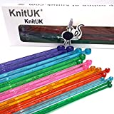 KnitUK Acrylic Knitting Needles Set of 8 pairs. With Crystal-like Rhinestone