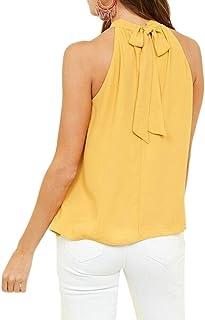 FRPE Women Sleeveless Plus Size Tank Summer Bandage Chiffon Top T-Shirt Blouse