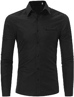 La Camisa De Los Hombres De Los Hombres De Tamaños Cómodos La Moda Ocasionales Adelgazan La Solapa La Camisa De Manga Larg...
