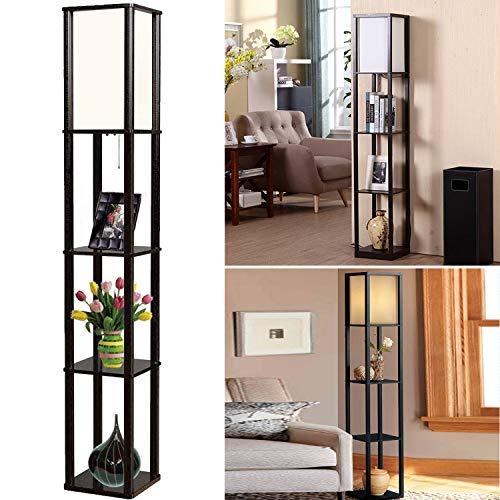 Lámpara de pie de madera, 2 en 1, con estante, estantería de luz, estantería de pie con lámpara para dormitorio, salón, moderna lámpara de noche con casquillo E27, 1,6 m de alto, estantería de esquina
