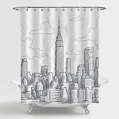 """MitoVilla NYC Skyline Shower Curtain Set, Sketchy New York Landmark Empire State Building and Skyscrapers Skyline Scenic Artwork for Modern Bathroom Decor, Black and White, 72"""" W x 78"""" L Long"""