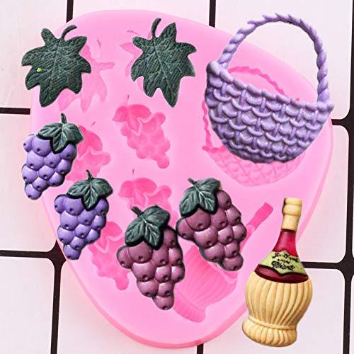 LINLIN Moldes de Silicona de Hojas de UVA DIY Fiesta Botella de Vino Cupcake Topper Fondant Herramientas de decoración de Pasteles Dulces moldes de Pasta de Goma de Chocolate