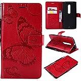 Kihying Coque pour Motorola Moto X Style Coque Housse (KT/3D Papillon Fleur) Antichoc Anti-Chute PU...