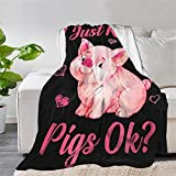 Lokapala Multi-Styles,Just Really Like Pigs Ok Cute Pink Piggy Throw Blanket Quilt Bedspread Fleece Flannel Soft Couch Home Decor Luxurious Warm Cozy for Spring Summer Autumn(S 50inchx40inch for Kid)