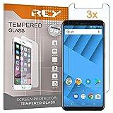 REY 3X Protector de Pantalla para VERNEE M6, Cristal Vidrio Templado Premium,