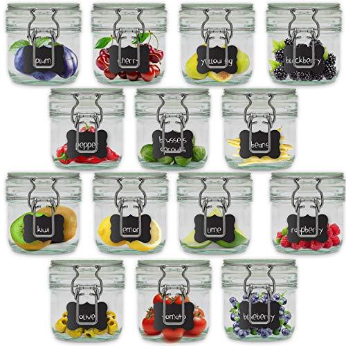 Creative Home 14 x Tarros de Cristal con Tapa Herméticos | 14 x 200ml | Set Botes Envases Cierre de Clip | para Conservar Alimentos | 16 Pegatinas Reutilizables + 1 Tiza Sin Polvo