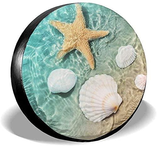 Lewiuzr Starfish Seashells Stars Cubierta de neumático de Rueda de Repuesto de poliéster portátil Ajuste Universal