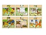 Woodyland Varios Animales Rompecabezas de Madera situado en una Pantalla (12 Piezas)