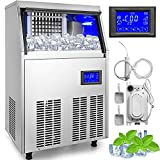 VEVOR 110V Commercial ice Maker 110-120LBS/24H with 33LBS Bin and Electric Water Drain Pump, Clear...