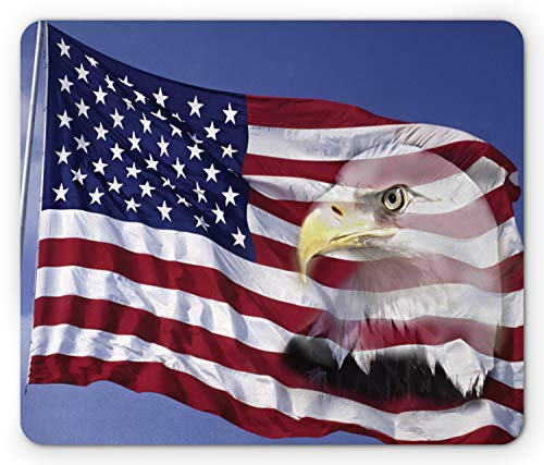 Ambesonne American Flag Mouse Pad, Bless America Flag in The Wind with Eagle Double Exposure Citizen Image, Rectangle Non-Slip Rubber Mousepad, Standard Size, Blue Red