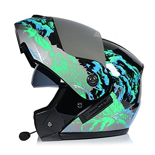 Casco Integral De Motocicleta Con Bluetooth ECE Homologado Casco Modular De Moto Flip Up Sun Shield Cara Abierta Casco De Moto De Carreras Con Doble Visera Para Mujer Hombre Adultos E,L