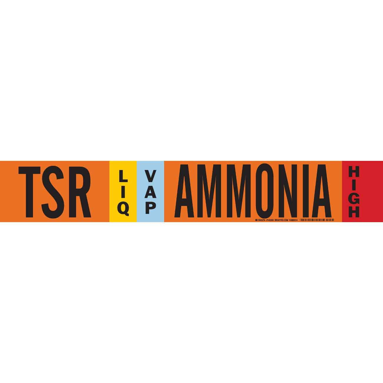 Brady TSR LIQVAP Ammonia HIGH Pipe Marker, 2.25