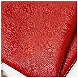 Rollo de Tela de Piel Sintética Piel Negra Tela de Sofá Piel Sintética Autoadhesiva 100x140cm Cojines de Cuero Muebles de Mesa Reparación Sofás Sillas Bolsos Tapic(Size:1x1.4M/3.3x4.6FT,Color:rojo)
