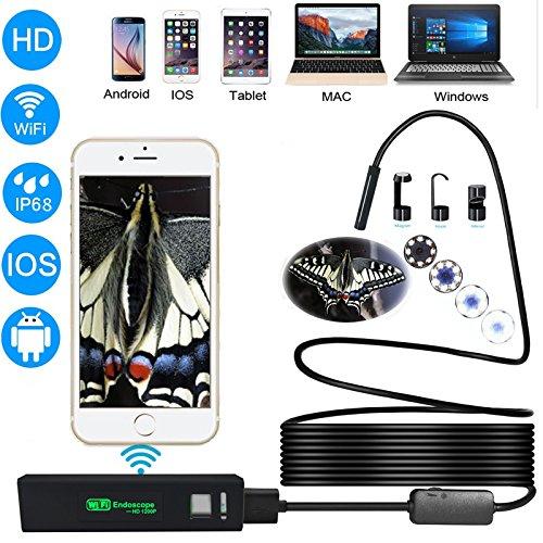 ZZHK WiFi HD endoscoop, 2,0 megapixels, 1200 P HD, volledige camerainspectie, voor Android-smartphones, iPads, tablet, Mac, kan worden gebruikt om airconditioning, auto's enz. te repareren.