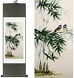 Pergamino chino Decoración de estilo chino en el hogar tradicional de seda china de tinta acuarela de bambú Dos pájaros lona de arte de pared cuadro enmarcado de desplazamiento del damasco regalo de l
