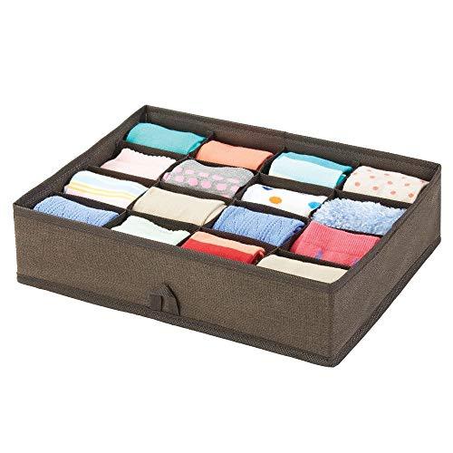 mDesign Schubladenbox – Box mit 16 Fächern zur platzsparenden Kleideraufbewahrung – für Socken, Kinderunterwäsche, Leggings, Schmuck etc. – braun