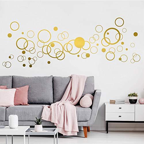 Wandtattoo Kreise (61teilige) Retro Kreise zum Dekorieren - Gold
