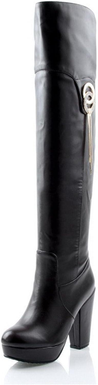 WeenFashion Women's Platform Polishing Tassels Chunky Heels PU Above-The-Knee Boots with Metal
