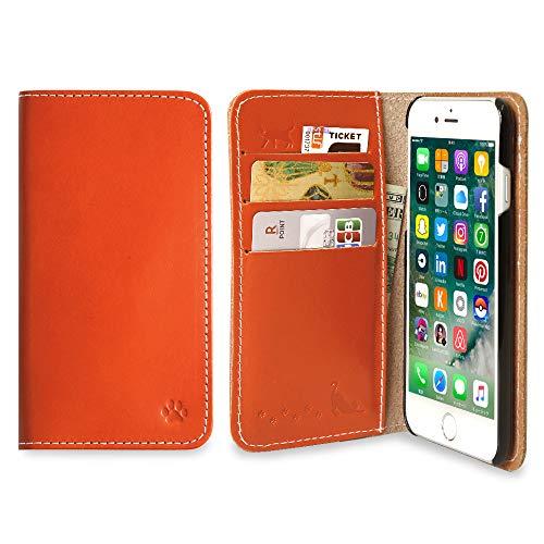 スマホケース Samsung Galaxy S20 Plus S20+ 手帳型 ケース 栃木レザー 猫 肉球 刻印 ヌメ革 レザー カード収納 (ダークオレンジ) SIMフリー