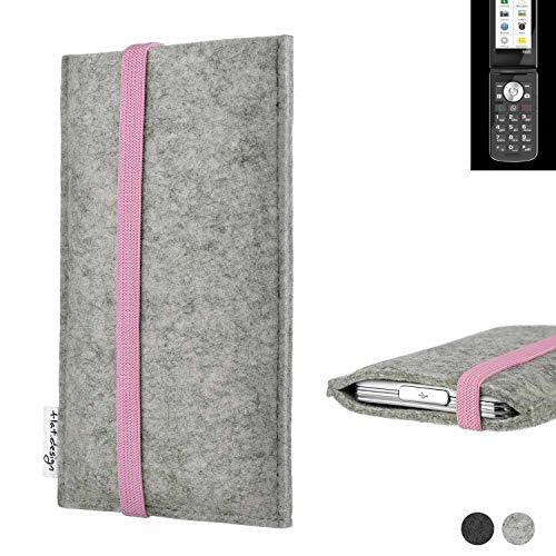 flat.design Handy Hülle Coimbra für Emporia TOUCHsmart handgefertigte Handytasche Filz Tasche Hülle rosa hellgrau