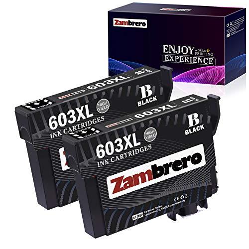 Zambrero 603XL Nero Cartucce Sostituzione per Epson 603 XL 603XL Cartucce per Epson Expression Home XP-2100 XP-2105 XP-3100 XP-3105 XP-4100 XP-4105, WorkForce WF-2810 WF-2830 WF-2835 WF-2850 (2 BK)