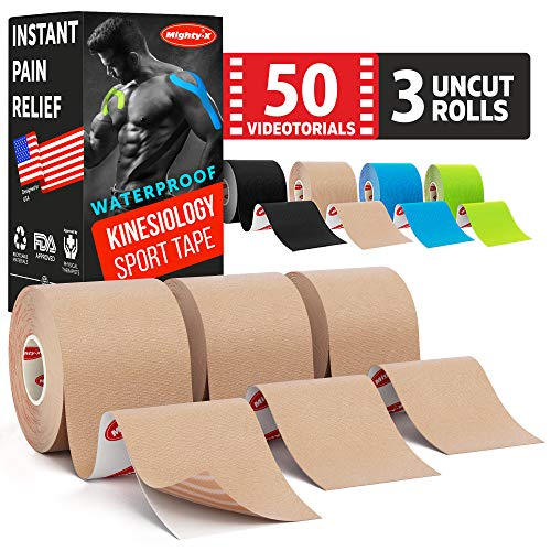 Waterproof Kinesiology Tape * Beige * Comes with 35 Video Guides * Instant Pain Relief * 3 Uncut Rolls * Easy to Use Kinetic Tape * Sports Tape Kinesiology * Physio Tape * K Tape Adhesive