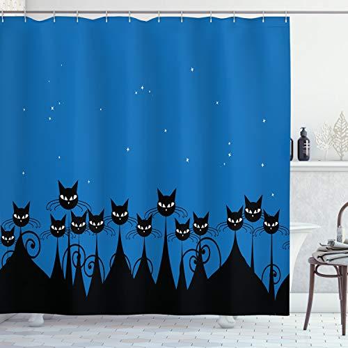 ABAKUHAUS Nacht Duschvorhang, Schwarze Katzen Sternenhimmel, Digital auf Stoff Bedruckt inkl.12 Haken Farbfest Wasser Bakterie Resistent, 175 x 180 cm, Blau schwarz-weiß