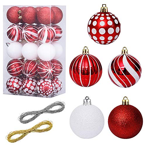 "LessMo Christmas Ball Ornament, 60mm/2.37"" Shatterproof Christmas Decoration Tree Balls, Painting & Glittering Hanging Christmas Ornament Baubles Set, for Holiday Wedding Party Decor, Tree, Red"