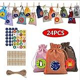 Bolsa de lino navideña, calendario de cuenta regresiva hasta 2020, 24 colores, bolsa con cordón de calendario de cuenta regresiva de 24 días, bolsa colgante con pegatinas de números de dibujos animado