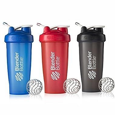 BlenderBottle 28oz Classic Loop Top Shaker Bottle 3-Pack, Full Color Blue/Black/Red