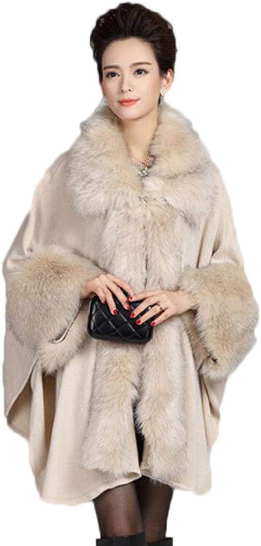 Autumn and Winter New Warm Cloak Women's Super Long Shawl Coat Cloak Knit Cardigan (color   White, Size   OneSize)