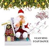 NSZMDFJ Decoración Navideña De Santa Claus Juguetes De Adorno De Canción Eléctrica con Luces Colgantes De Navidad Decoración De Fiesta De Festival,Rojo