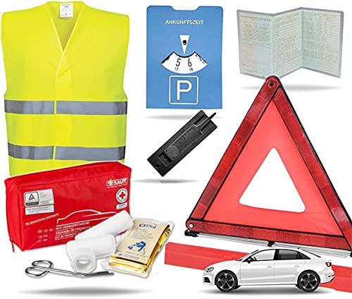 TK Gruppe Timo Klingler 8 in 1 - Auto Erste Hilfe Set 2021 - kfz Verbandskasten Pkw - Verbandstasche & Warnweste Pannenweste Unfallweste & Warndreieck - Autozubehör