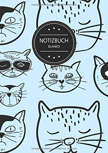 Notizbuch Blanko: Blanko Notizbuch A4 110 Seiten, Vintage Softcover, Weißes Papier - Dickes Notizheft, Skizzenbuch, Zeichenbuch, Blankobuch, Sketchbook; Motiv: Muster Katzen Katze Haustier Blau