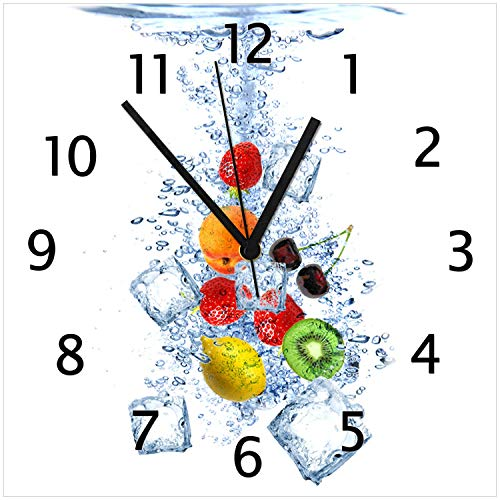 Wallario Glas-Uhr Echtglas Wanduhr Motivuhr • in Premium-Qualität • Größe: 30x30cm • Motiv: Obst-Eiswürfel-Mix im Wasser mit weißem Hintergrund