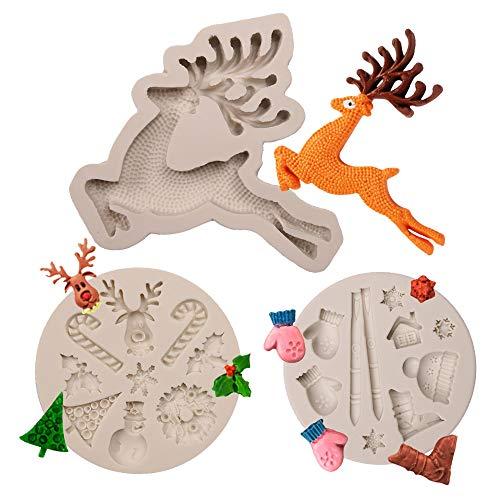 Ziyero 3 STK Weihnachts Thema 3D Silikon Form DIY Kuchen Dekor Rentier Silikon Form Weihnachtsmann Schokolade Schimmel Leicht Reinigen, für DIY Zucker Basteln, Biscuit, Baking Dekorieren usw—Grau