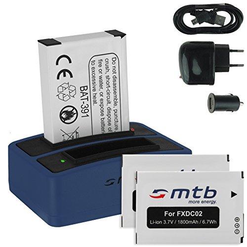 3x Batteria + Caricabatteria doppio (USB/Auto/Corrente) FXDC02, CFXDC02 per Drift HD Ghost (10-005-00), Ghost-S (10-007-00)