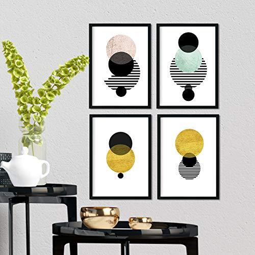 Nacnic Geometrische Poster 4-er Set. Nordischer Stil Wanddekoration Abbildung von stilvollen Kreisen im Gelb- und Pastelltönen. Verschiedene Skandinavische Stil Bilder ohne Rahmen. Größe A4.