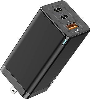 Baseus USB充電器 PD 65W 急速充電器 3ポート2*Type-C+USB (最大出力20 V/3.25 A/急速/折畳式プラグ) GaN 窒化ガリウム 持ち運びに便利 海外対応 小型 PSE認証済 iPhone/Android/M...
