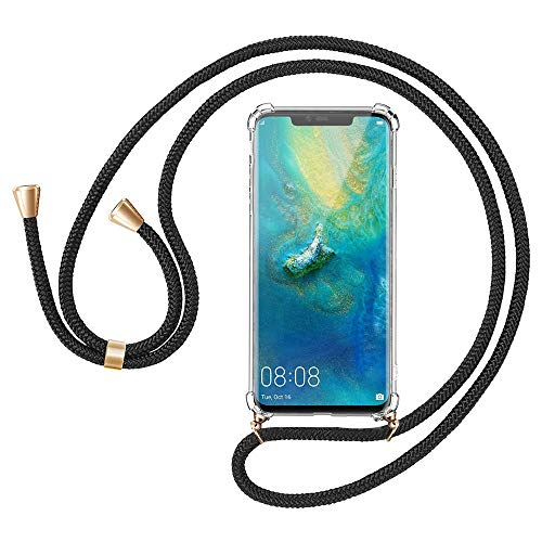 Migimi Funda con Cuerda Huawei Mate 20 Pro, Carcasa Transparente TPU Suave Silicona Case con Correa Colgante [Moda y Practico] [Anti-Choque] Ajustable Collar Correa