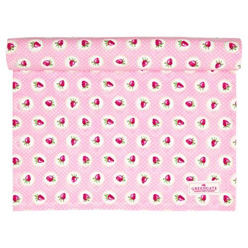 GreenGate - Tischläufer, Tischdecke - Erdbeeren - Baumwolle - 140 x 45 cm